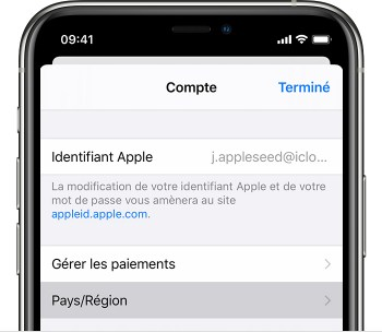 iPhone présentant la page Réglages du compte.