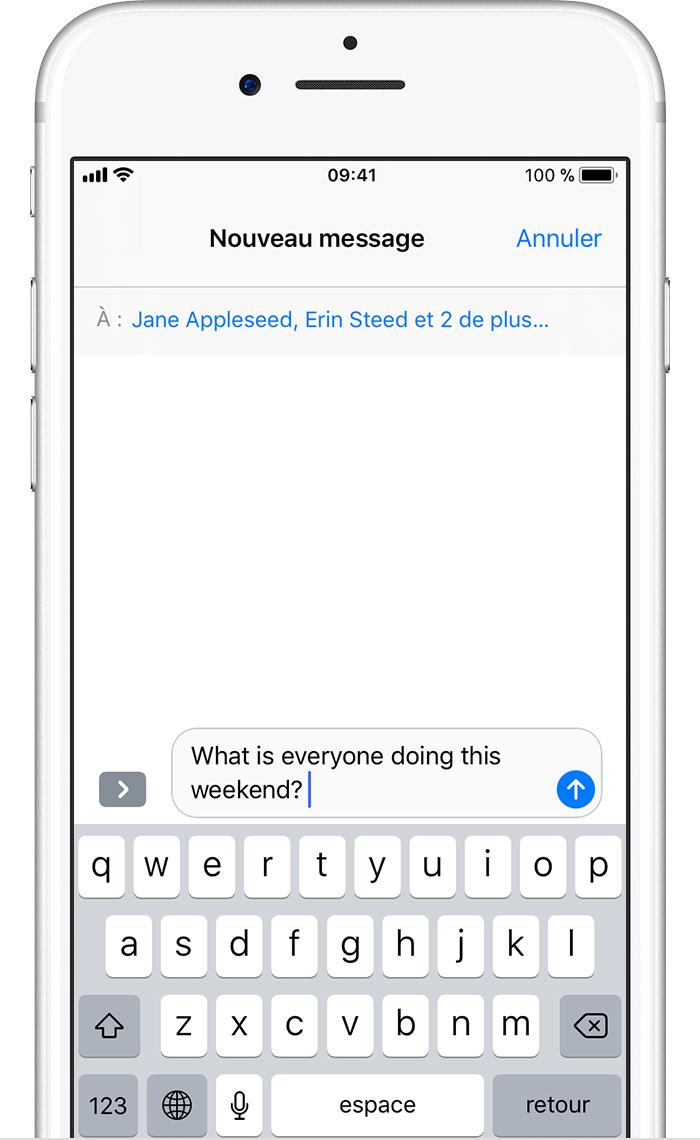 Envoi d'un message collectif sur votre iPhone, iPad ou