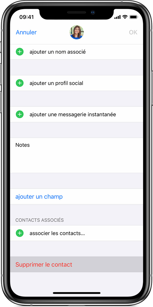 Gestion et suppression des contacts sur votre iPhone, iPad