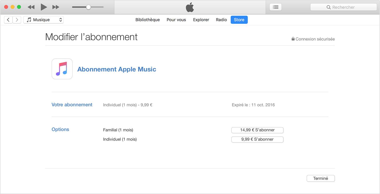 Gestion de votre abonnement à Apple Music sur votre iPhone