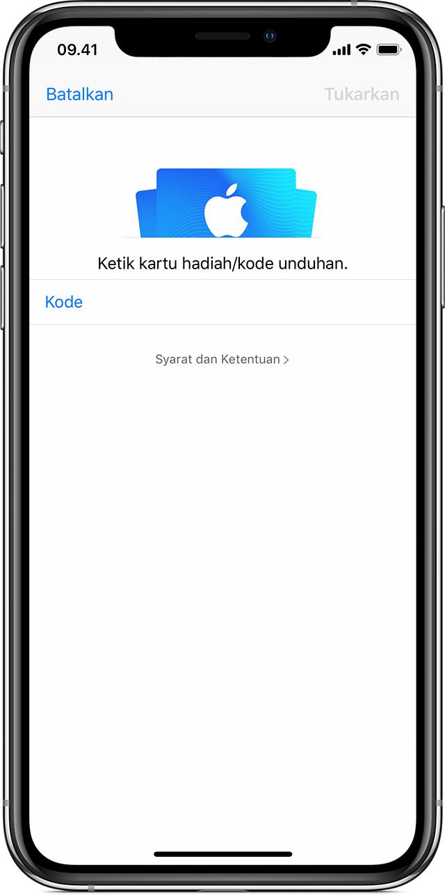 Menukarkan Kartu Hadiah App Store & iTunes dan kode konten