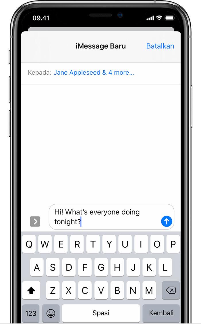 Mengirim pesan grup di iPhone, iPad, atau iPod touch