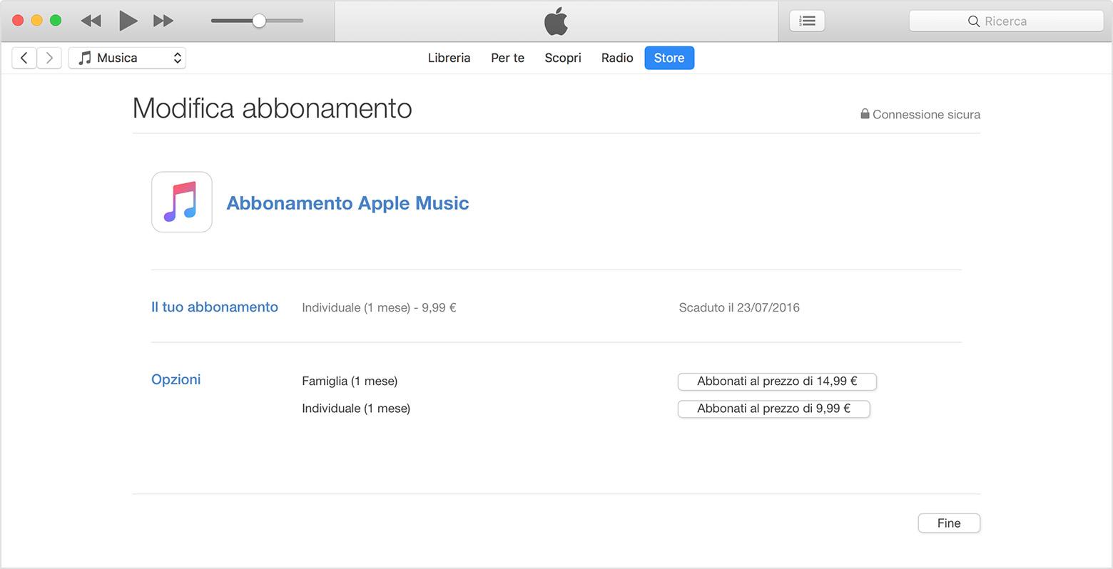 Gestione della membership Apple Music su iPhone, iPad