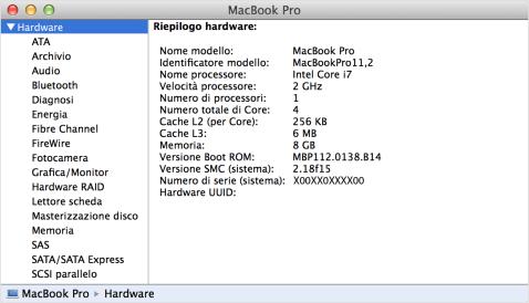 Pannello Hardware di Informazioni di sistema