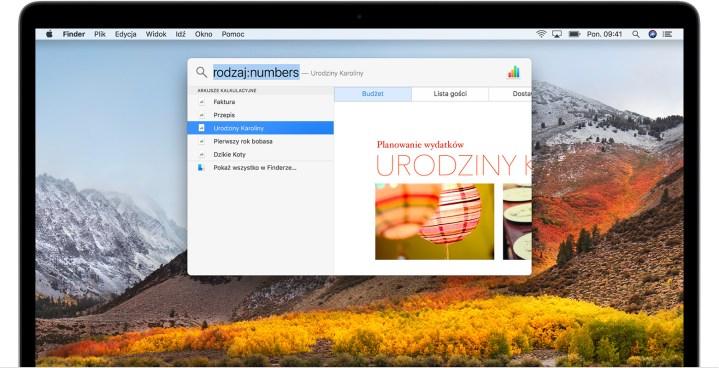screenshot z funckją Spotlight na macOS