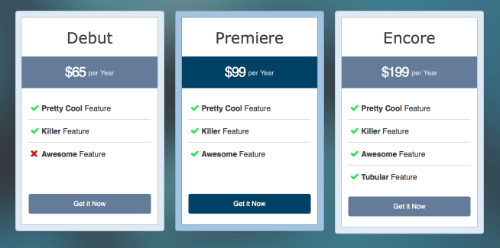 BB – Pricing Table module overview
