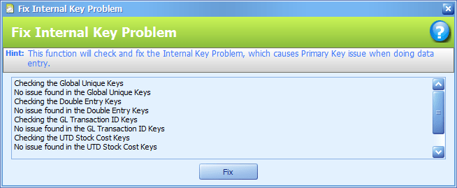 The Fix Internal Key function window after running the fix.