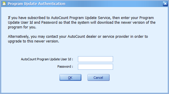The AutoCount Program Update Service is required to execute the download process