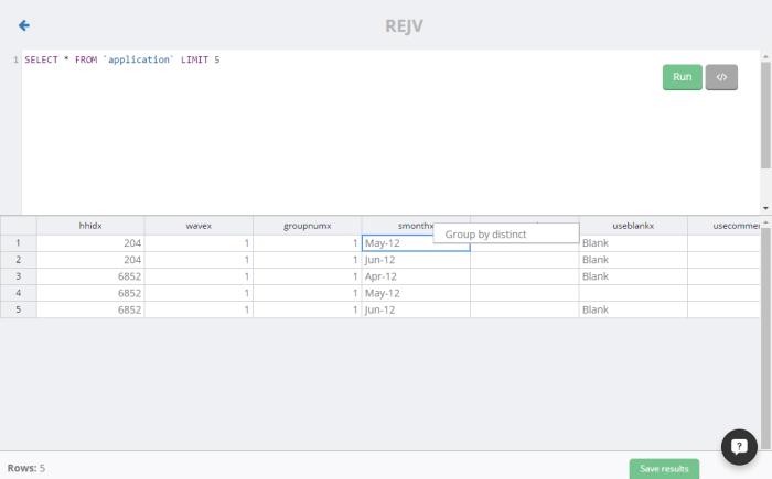 REJV - group by distinct