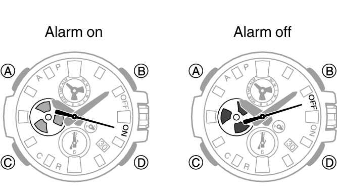 Turning an Alarm On or Off Module No. 5513 G-SHOCK