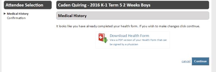 Download Health Form