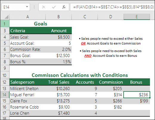 مثال على حساب مكافأة المبيعات الإضافية باستخدام الدالتين IF وAND