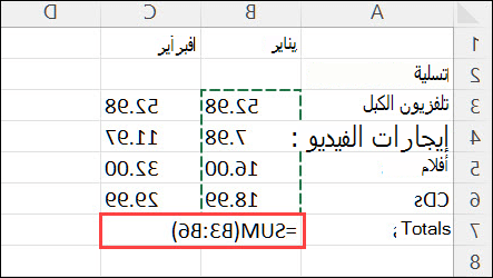 إنشاء صيغة بسيطة في Excel - استخدام ميزة الجمع التلقائي في إكسل
