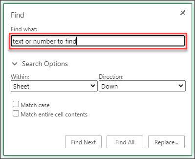 البحث عن نص أو أرقام واستبدالها في Excel للويب