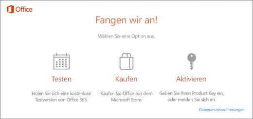 Aktivieren von Office 365, Office 2016 oder Office 2013