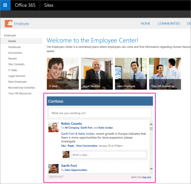 A Yammer My feed embedded in a SharePoint page