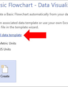 Selecting the excel data template link also create  visualizer diagram visio rh support office