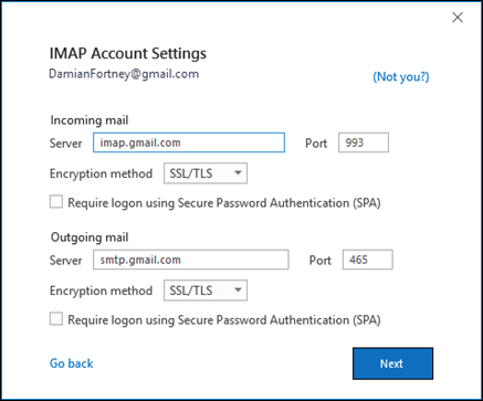 Verify your Gmail IMAP settings.