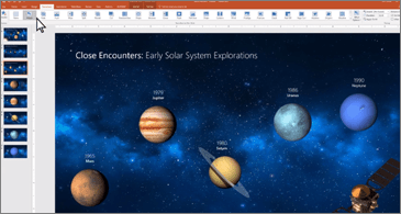 PowerPoint slide showing planets aligned