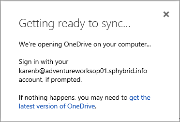 Screenshot of the Getting ready to sync dialog box when setting up OneDrive for Business to sync