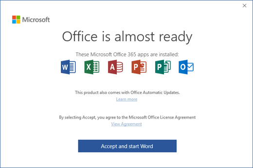 """Shows the """"Office is Almost Ready"""" page where you accept the License Agreement and start the app"""