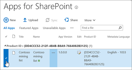 Apps for SharePoint apps catalog with app selected