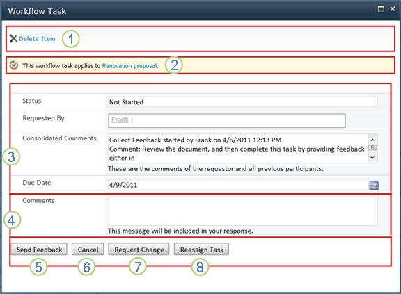 Collect Feedback task form with fields called out