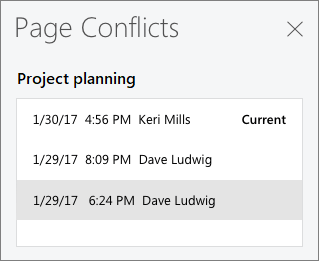 Page Conflicts pane showing three conflicting versions of a page