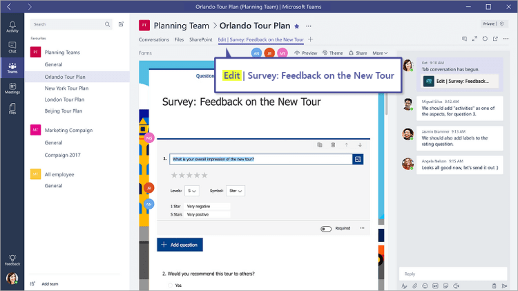 """Forms tab in Microsoft Teams that shows a form in """"Edit"""" mode"""