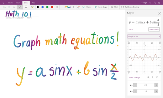 Graph math equations in OneNote for Windows 10