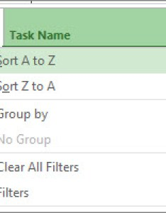 Image of task name menu with sort  to  selected also tasks resources or dates project rh support office