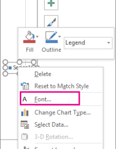 Font command on the shortcut menu used to change chart legend also add and format  office support rh