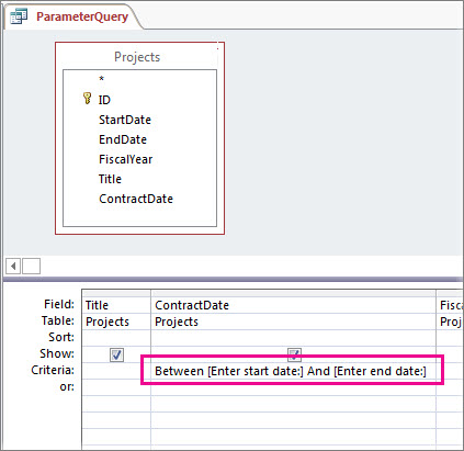 Parameter query with two parameters.