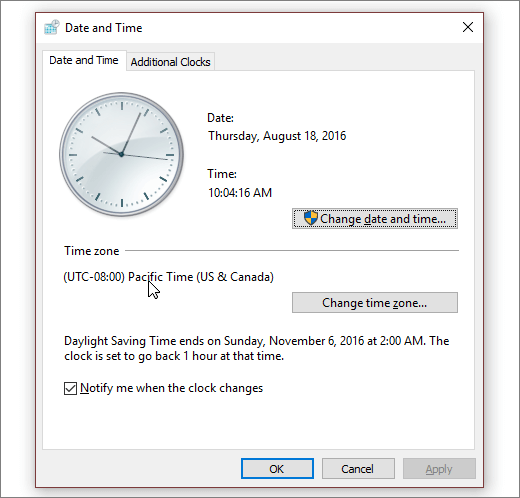 A screenshot showing the Date and Time menu in Windows 10. - www.office.com/setup