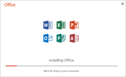Shows the progress dialog box that appears when Office is installing