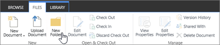 Image of the SharePoint Files ribbon with New Folder highlighted.