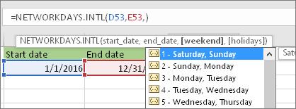 Intellisense list showing 2 - Sunday, Monday; 3 - Monday, Tuesday, and so on