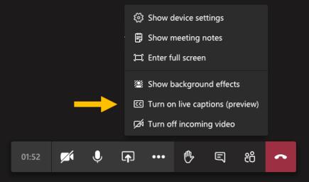Turn on live captions menu option