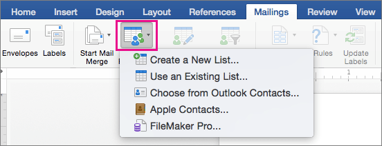 On the Mailings tab, Select Recipients is highlighed with a list of options