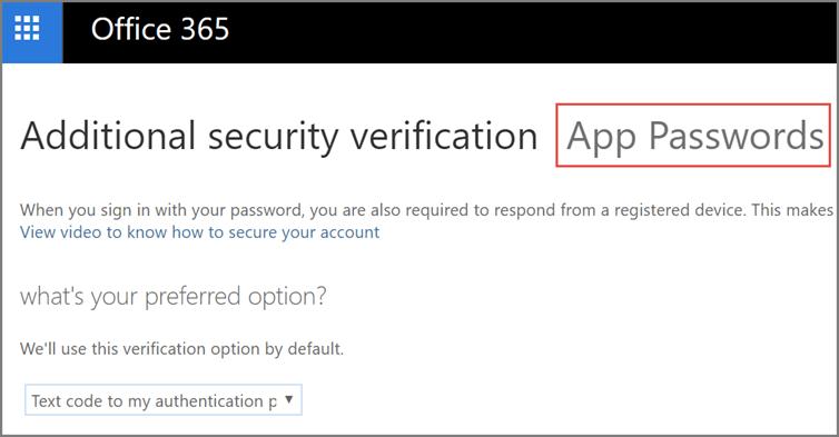 Choose app passwords