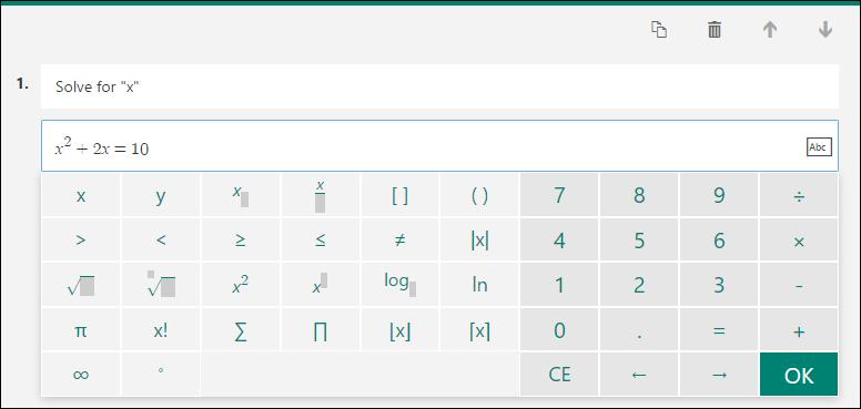 Math keyboard for math formulas