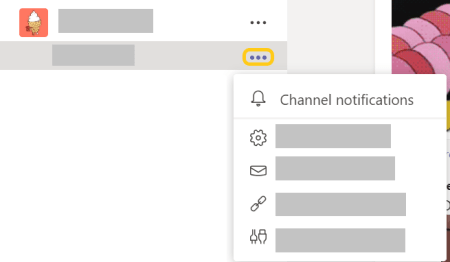 Image of channel notification button in the more options menu.