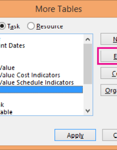 More tables dialog box also hide or unhide  column in project view rh support office