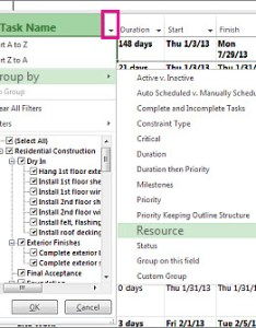 Task name column menu with group by resources selected also sort tasks or dates project rh support office