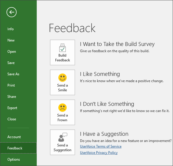 Click File > Feedback to offer comments or suggestions about Microsoft Project - www.office.com/setup