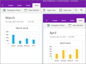 Two instances of OneNote running with different notes showing