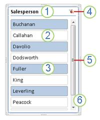 PivotTable slicer elements