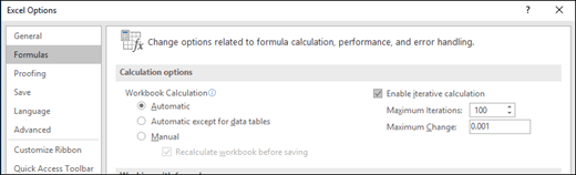 Screen shot of the Iterative Calculation settings to fix a #NUM! error.