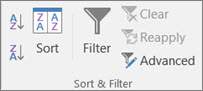 The Sort & Filter group on the Data tab