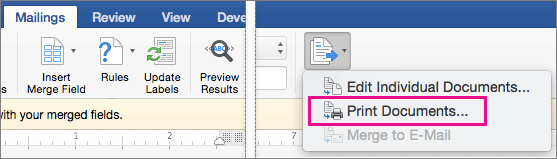 On the Mailings tab, Finish & Merge and the Print Documents option are highlighted